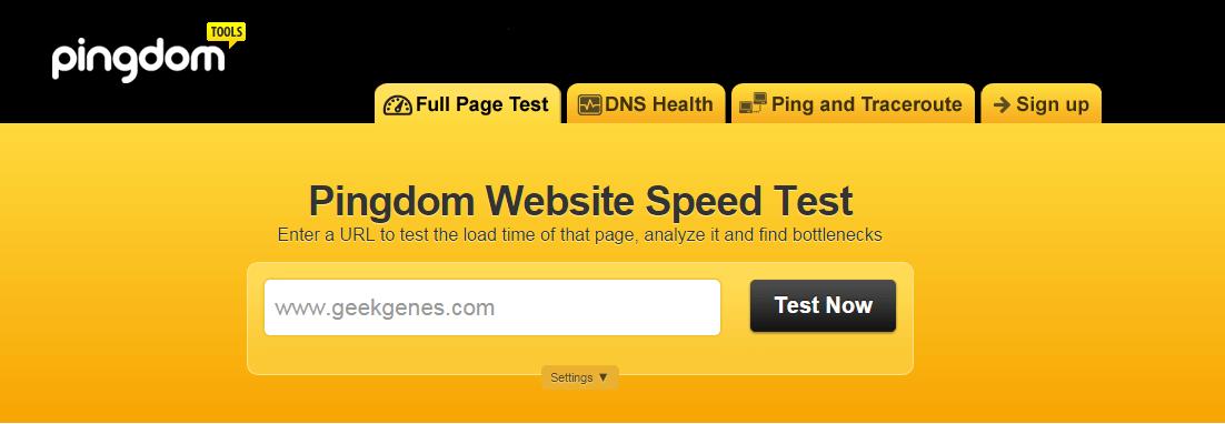 pingdom tools speedtest geekgenes