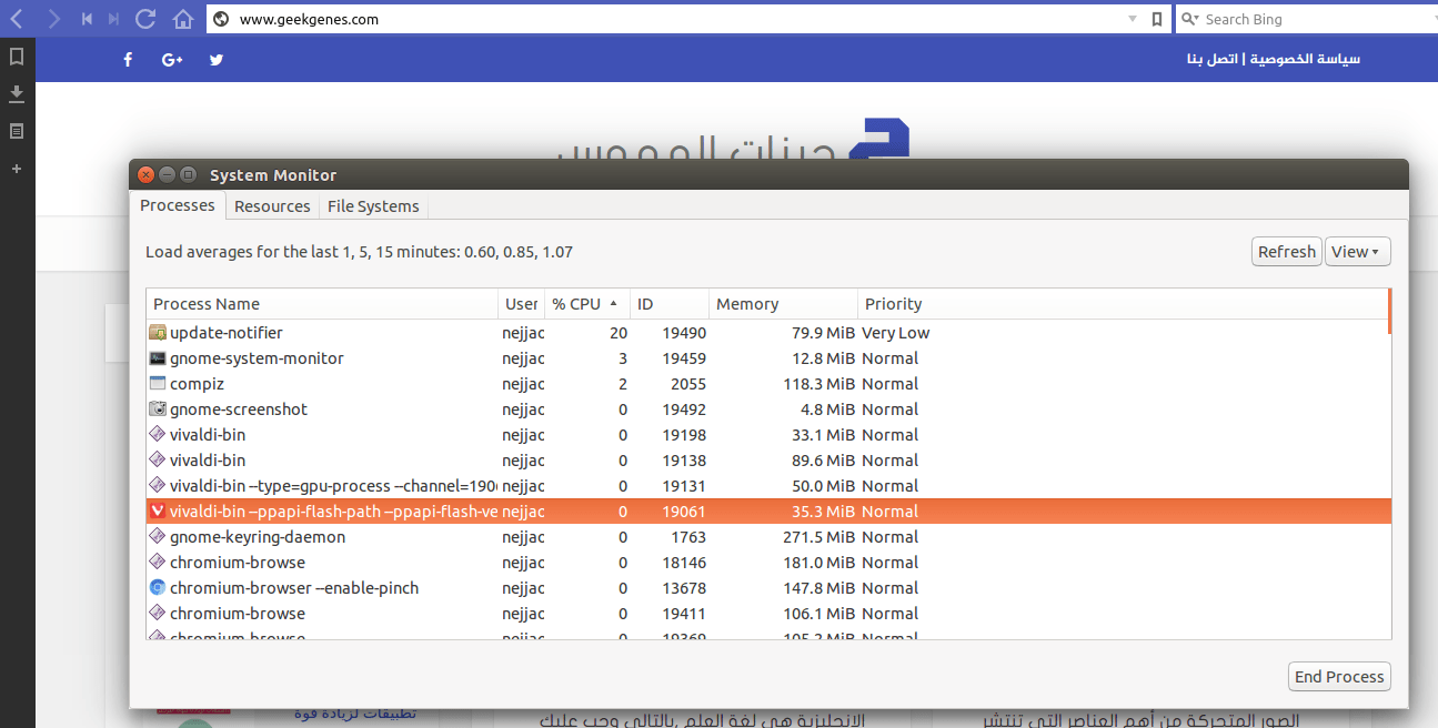 Vivaldi browser test