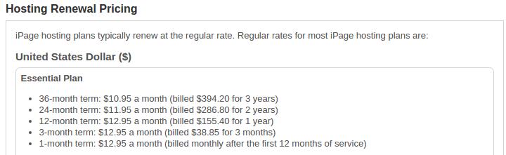 ipage-hosting-renewal-prices